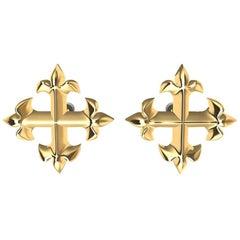 18 Karat Yellow Gold Fleur-de-Lis Cross Stud Earrings