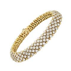 18 Karat Yellow Gold Flexible Round Brilliant Diamond Bracelet