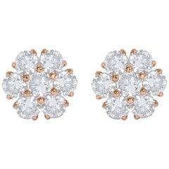 18 Karat Yellow Gold Floral Diamond Stud Earrings
