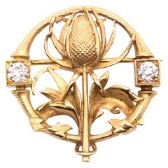 18 Karat Yellow Gold Floral Pin or Brooch Having Two Diamonds