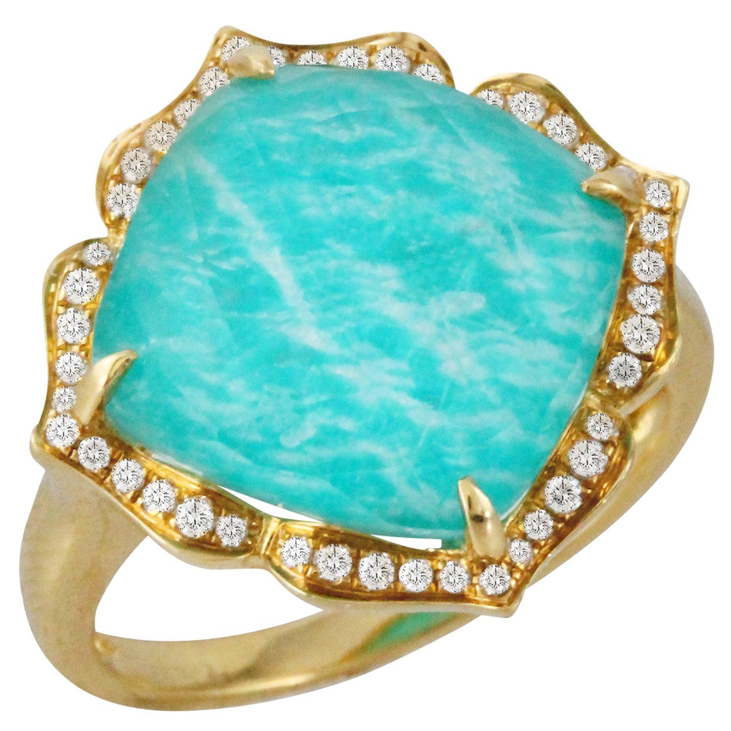 18 Karat Yellow Gold Flower Cocktail Ring w/Amazonite, White Quartz & Diamonds