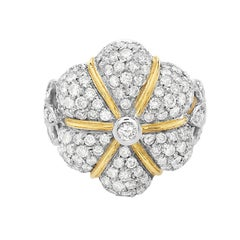 18 Karat Yellow Gold Flower Dome Cocktail Ring