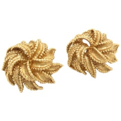 18 Karat Yellow Gold Flower Ear Clips by Bucherer