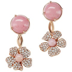 18 Karat Yellow Gold Flower Earring with Pink Opals and Diamonds