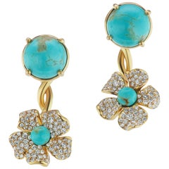 18 Karat Yellow Gold Flower Earring with Turquoise and Diamonds