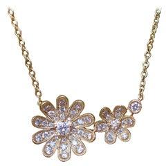 Halskette aus 18 Karat Gelbgold mit 0,42 Karat Diamanten an einer Kette