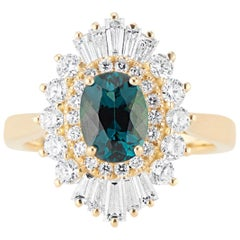 18 Karat Yellow Gold Flutter Ballerina Diamond and Tourmaline Ring