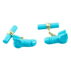18 Karat Yellow Gold Flying Penis in Turquoise Matrix Cufflinks