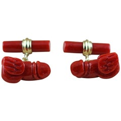 18 Karat Yellow Gold Flying Penis Mediterranean Coral Cufflinks