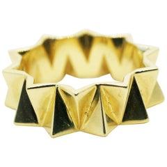18 Karat Yellow Gold Folded Triangles Band