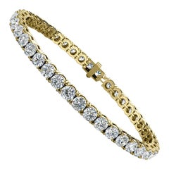 18 Karat Yellow Gold Four Prongs Diamond Tennis Bracelet '10 Carat'