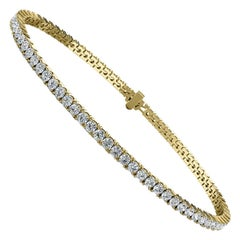 18 Karat Yellow Gold Four Prongs Diamond Tennis Bracelet '3 Carat'