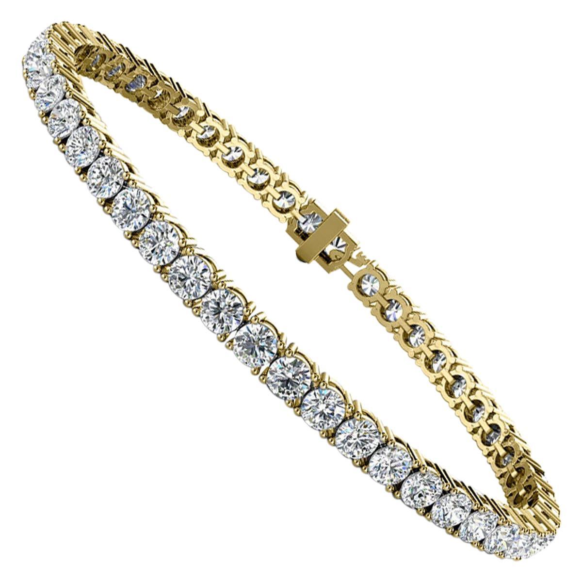 18 Karat Yellow Gold Four Prongs Diamond Tennis Bracelet '7 Carat'