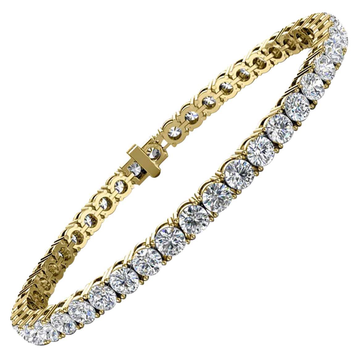 18 Karat Yellow Gold Four Prongs Diamond Tennis Bracelet '8 Carat'