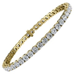 18 Karat Yellow Gold Four Prongs Diamond Tennis Bracelet '8 Carat'