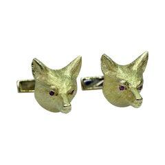 18 Karat Yellow Gold Fox Mask Cufflinks