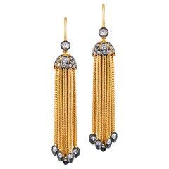 18 Karat Yellow Gold Foxtail Chain Diamond Tassel Earrings Signed Fred Leighton