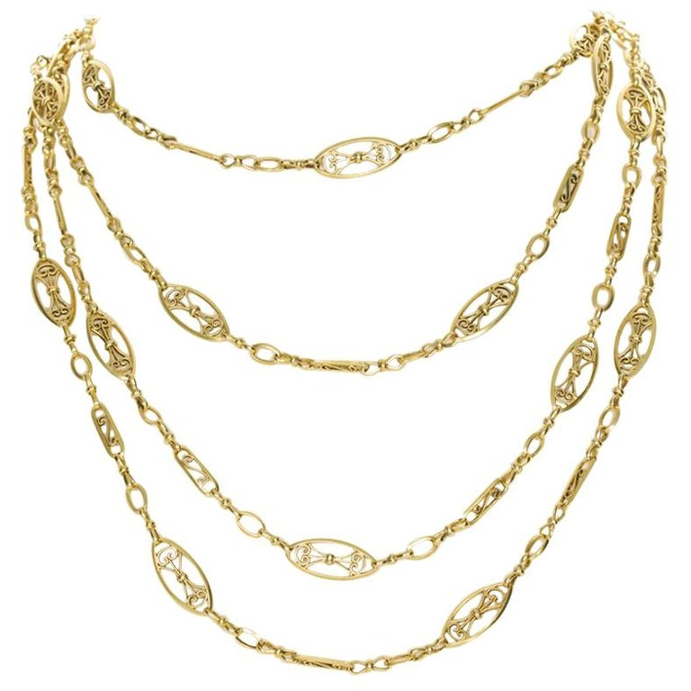 0cd776df07c 18 Karat Yellow Gold French Antique Guard Chain For Sale at 1stdibs