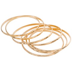 18 Karat Yellow Gold French Antique Semaine Engraved Bangle Set