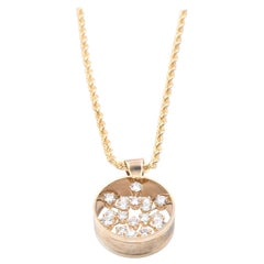 18 Karat Yellow Gold French Designed Diamond Circle Necklace