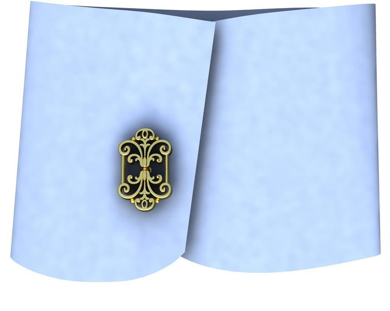 18 Karat Yellow Gold French Gate Cufflinks , This is a series for cufflinks from my travels. Photographs of iron and bronze gates, fences,and windows. The lost art of decorative hand wrought metal work. These are matte and polished 18ky. 22 mm x 14