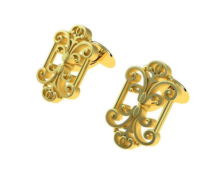 Contemporary 18 Karat Yellow Gold French Gate Cufflinks For Sale