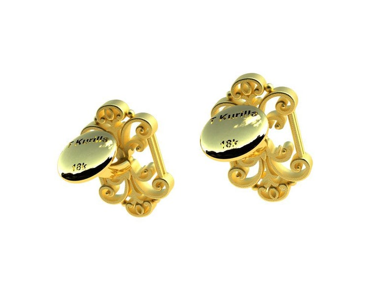 18 Karat Yellow Gold French Gate Cufflinks In New Condition For Sale In New York, NY