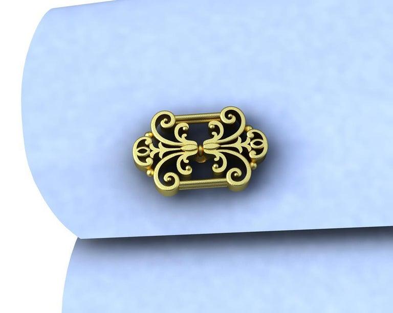 Men's 18 Karat Yellow Gold French Gate Cufflinks For Sale