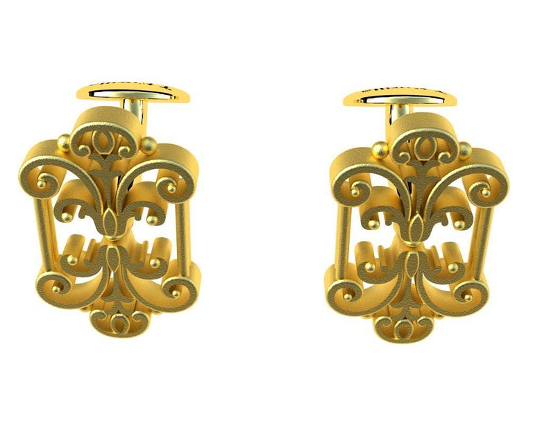 18 Karat Yellow Gold French Gate Cufflinks For Sale 1
