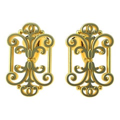 18 Karat Yellow Gold French Gate Cufflinks