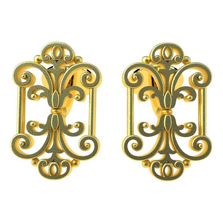 18 Karat Yellow Gold French Gate Cufflinks For Sale