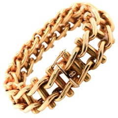 18 Karat Yellow Gold French Ladder Bracelet