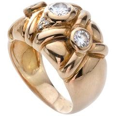18 Karat Yellow Gold French Three-Stone Diamond Ring