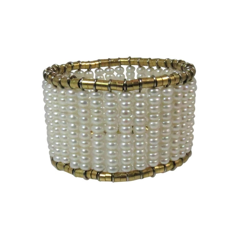 18 Karat Yellow Gold Fresh Water Pearl Flexible Cuff Bracelet