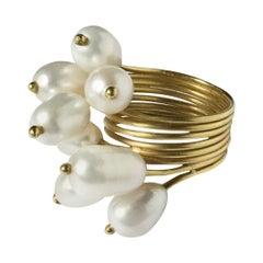 18 Karat Yellow Gold, Freshwater Pearls, Silver 750 Roseaux Ring