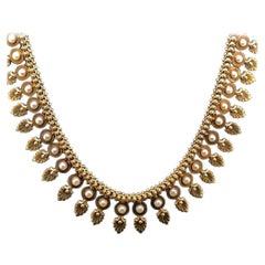 18 Karat Yellow Gold Fringe Pearl Set Necklace, Circa 1960