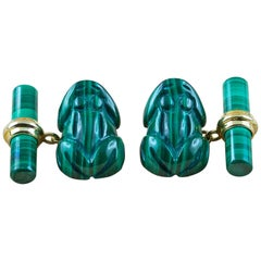 18 Karat Yellow Gold Frog Animal Cufflinks in Malachite