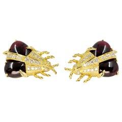 18 Karat Yellow Gold, Garnet, and Diamond Vintage Beetle Cufflinks