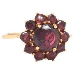 18 Karat Yellow Gold Garnet Flower Ring