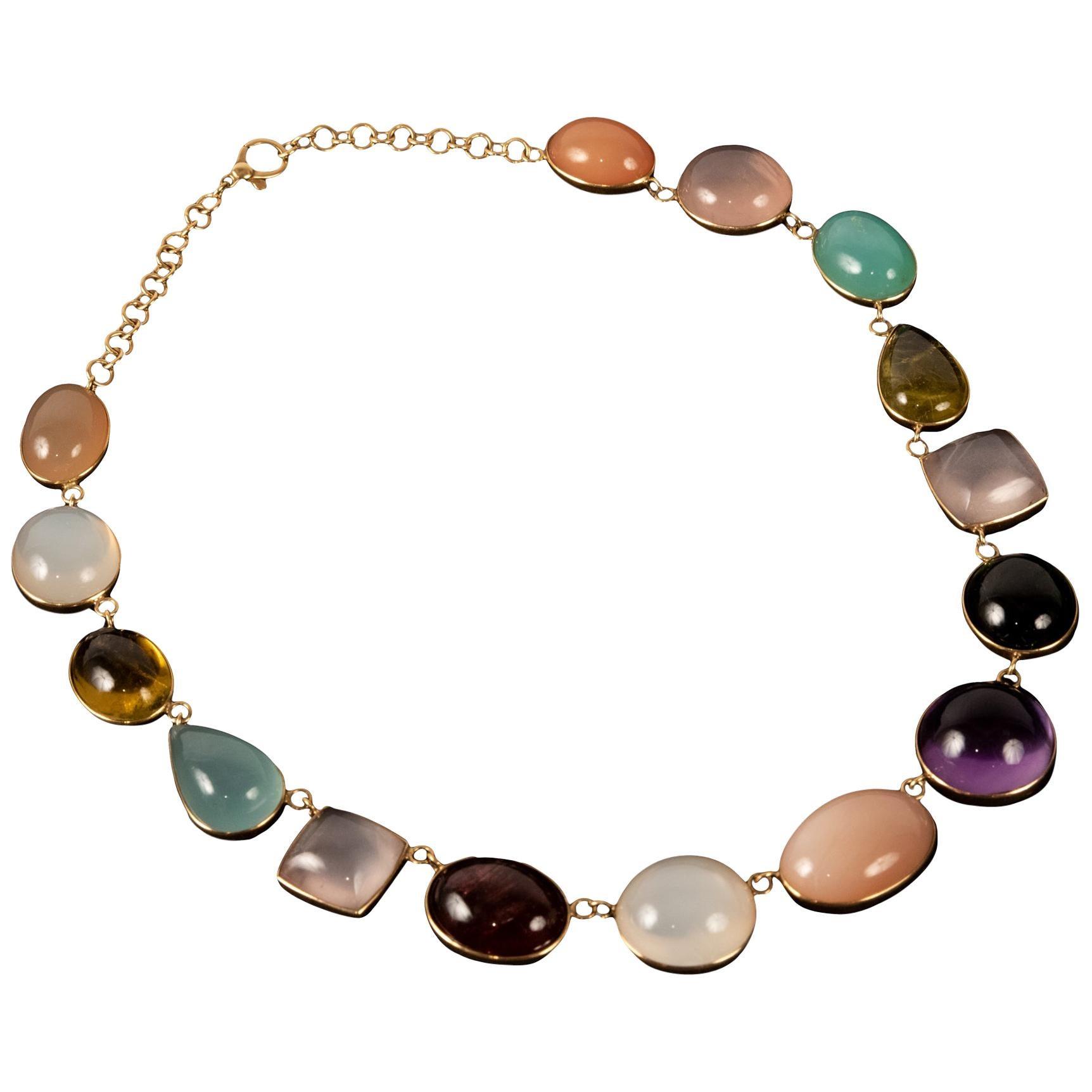 18 Karat Yellow Gold Gem-Set Necklace