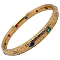 18 Karat Yellow Gold Gemset Engraved Bangle