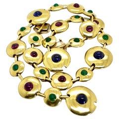 18 Karat Yellow Gold Gemstone Bracelet and Choker Set