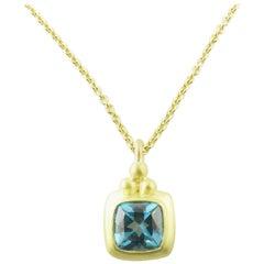 18 Karat Yellow Gold Genuine Blue Topaz Pendant Necklace