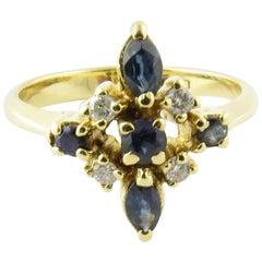 18 Karat Gelbgold Genuine Saphir und Diamant Ring
