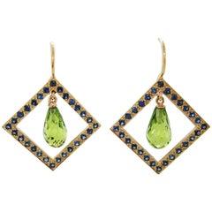 18 Karat Yellow Gold Geometric Briolette Peridot Blue Sapphire Dangle Earrings