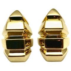 18 Karat Yellow Gold Geometric Clip-On Earrings