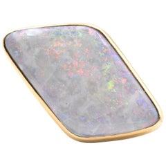 18 Karat Yellow Gold Geometric Opal Ring