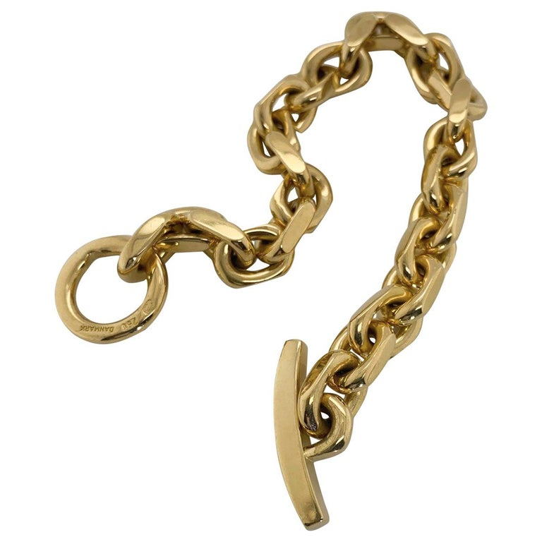 18 Karat Yellow Gold Georg Jensen Flat Link Toggle Bracelet In Excellent Condition For Sale In Brisbane, AU