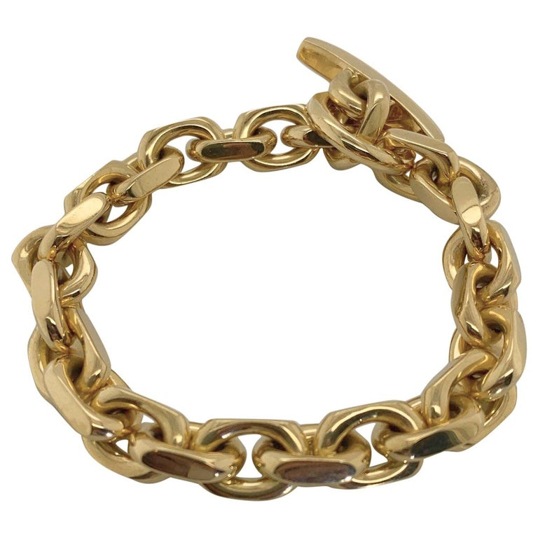 18 Karat Yellow Gold Georg Jensen Flat Link Toggle Bracelet For Sale 2
