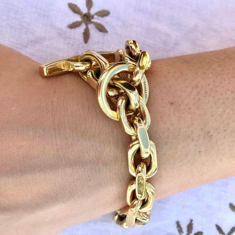 18 Karat Yellow Gold Georg Jensen Flat Link Toggle Bracelet For Sale 3